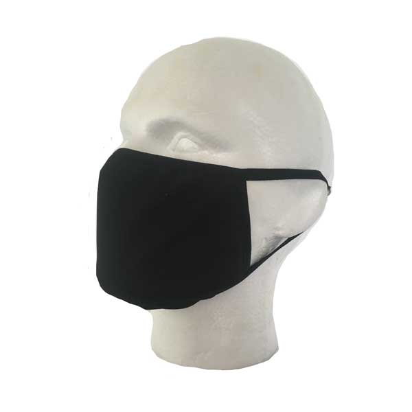 Black Cloth Face Mask - Side View