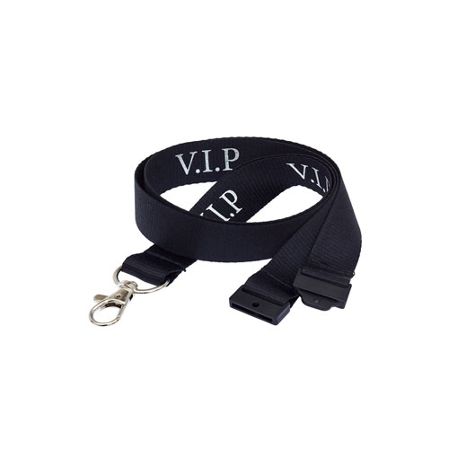 Black VIP Lanyard - Silver Text