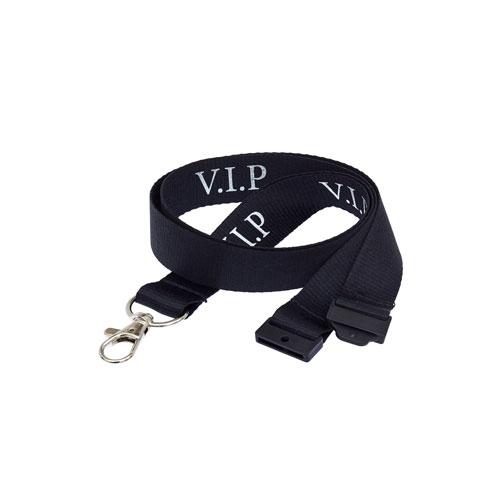 Black VIP Lanyard - Silver Text