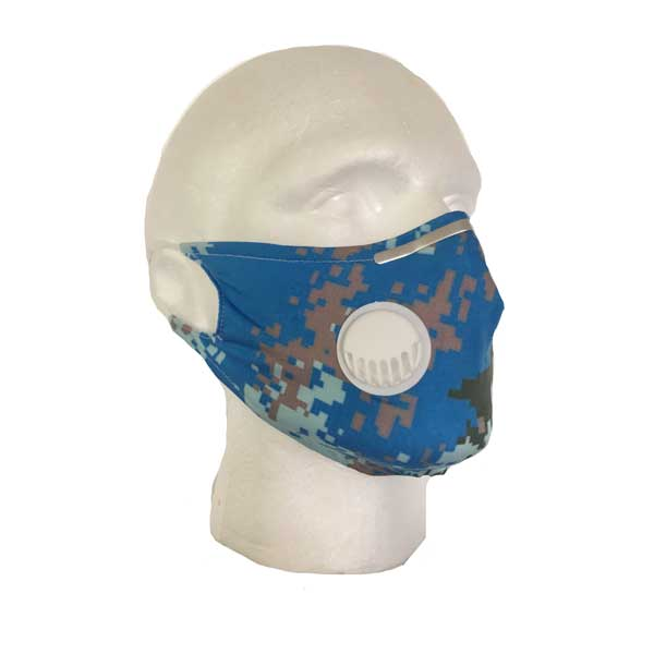 Blue Camouflage Mask - Side View