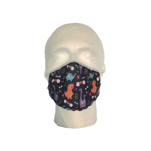 Blue Dinosaur Cloth Face Mask - Front View
