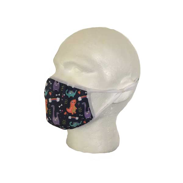 Blue Dinosaur Cloth Face Mask - Side View