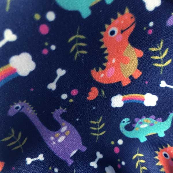 Blue Dinosaur Cloth Face Mask - Detail Showing Print