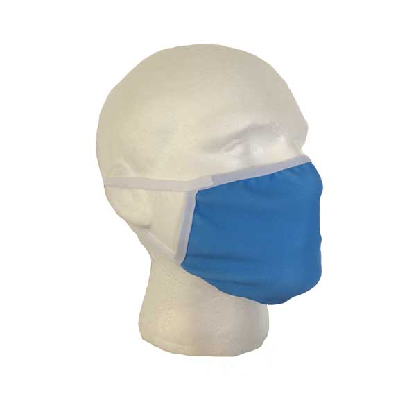 Blue Cloth Face Mask - Side View