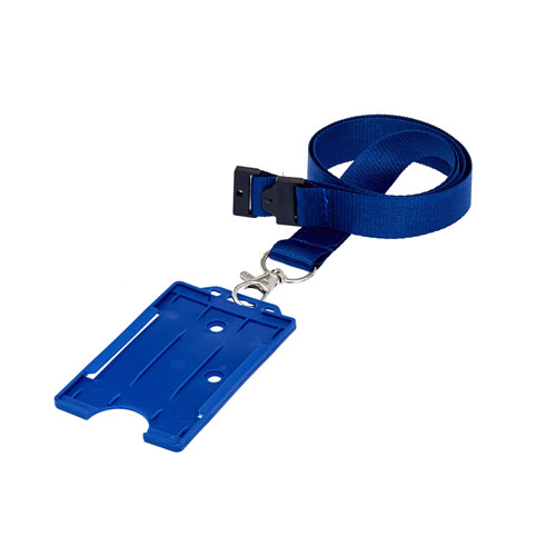 Blue Portrait ID Card Holder on a Lanyard (Lanyard Not Included)
