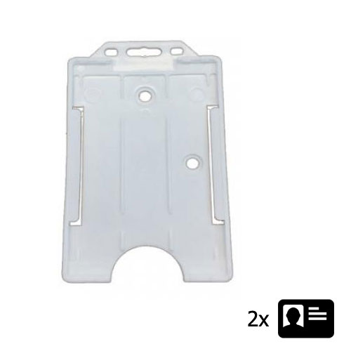 Clear Portrait ID Card Holder - Holds Two ID Cards