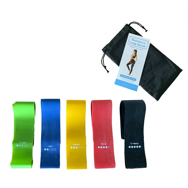 Custom Printed Resistance Bands Kit with Bag & Guide