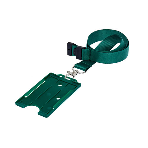 Green Portrait ID Card Holder on a Lanyard (Lanyard Not Included)