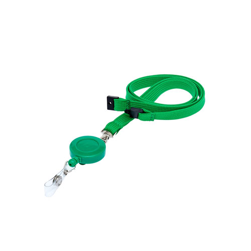 Green Retractable Ski Reel/Badge Reel On A Lanyard (Not Included)