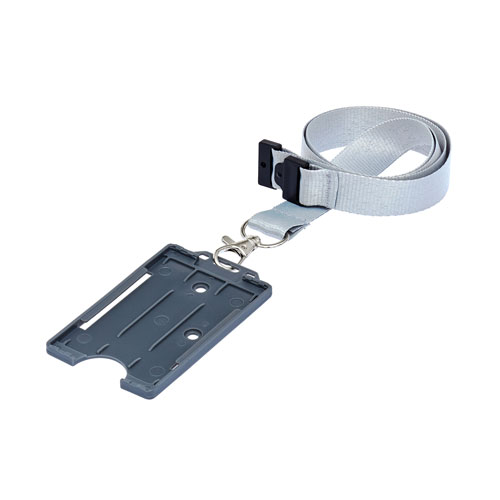 Grey Portrait ID Card Holder On A Lanyard (Lanyard Not Included)