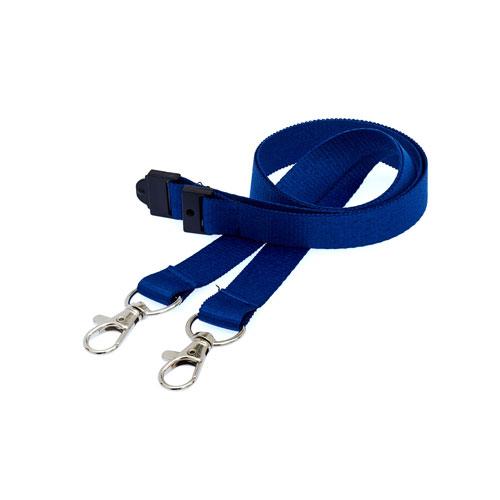 Navy Blue Doubleclip Lanyard