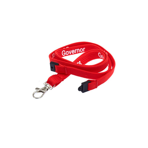 Red Governor Lanyard - White Text