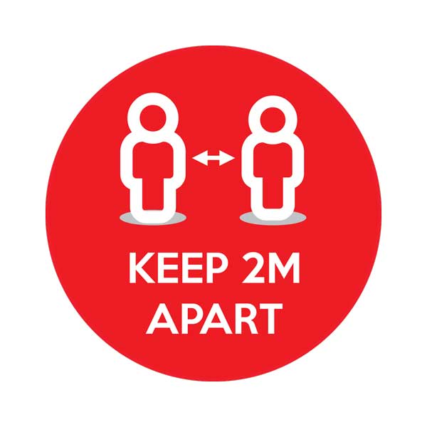 Red Keep 2m Apart Social Distancing Floor Sticker