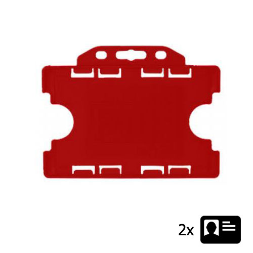 Red Landscape ID Card Holder - Holds Two ID Cards