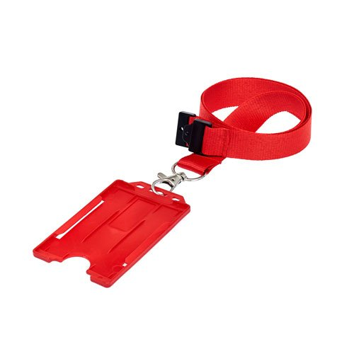 Red Portrait ID Card Holder on a Lanyard (Lanyard Not Included)