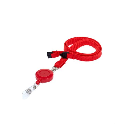 Red Retractable Ski Reel/Badge Reel On A Lanyard (Not Included)