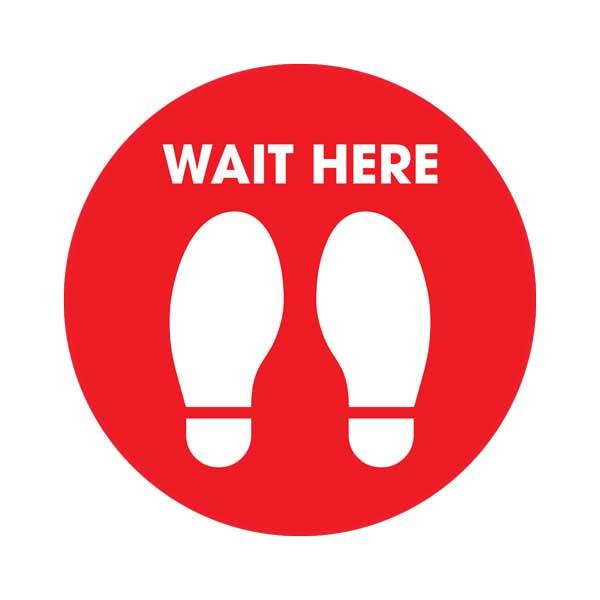 Red Wait Social Distancing Floor Sticker