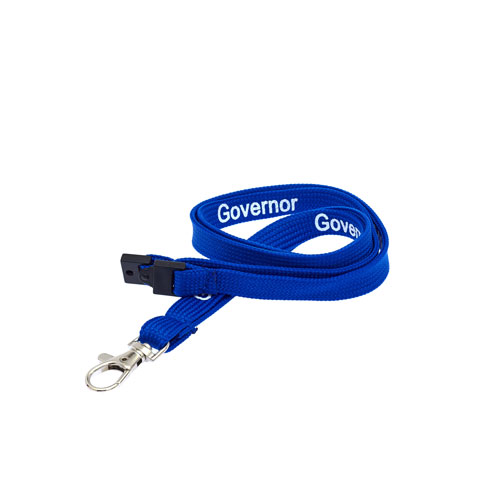 Royal Blue Governor Lanyard - White Text