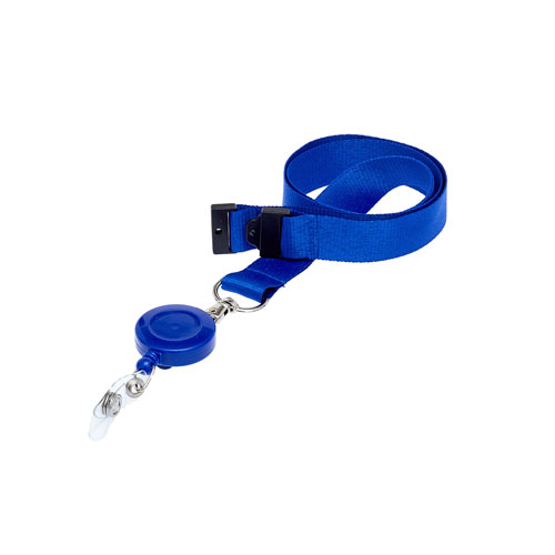 Royal Blue Retractable Ski Reel/Badge Reel On A Lanyard (Not Included)