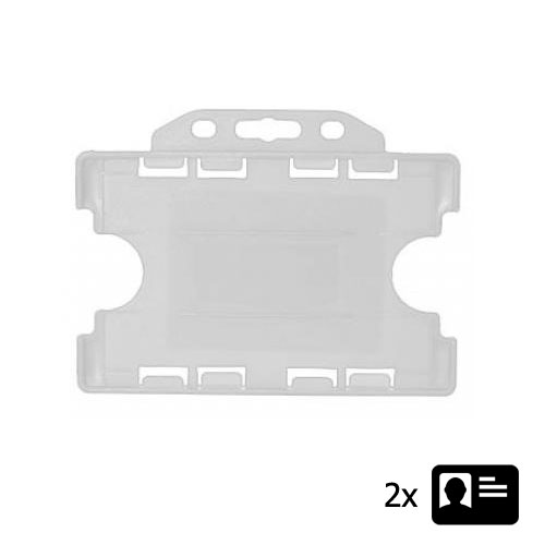 White Landscape ID Card Holder - Holds Two ID Cards