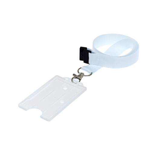 White Portrait ID Card Holder on a Lanyard (Lanyard Not Included)