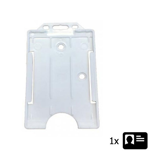 White Portrait ID Card Holder - Holds One ID Card