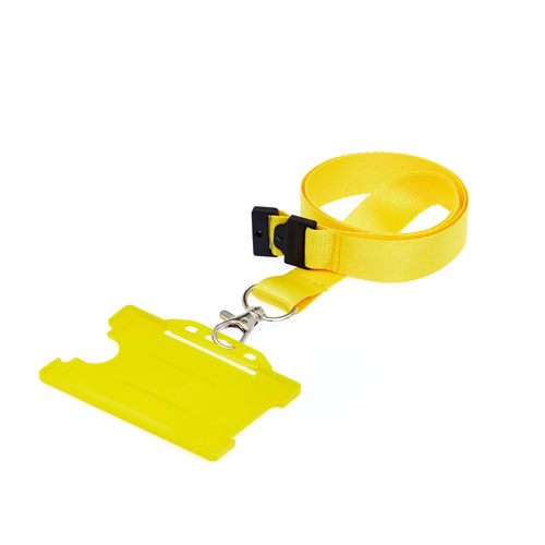 Yellow Landscape ID Card Holder On A Lanyard (Lanyard Not Included)