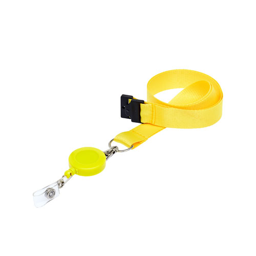 Yellow Retractable Ski Reel/Badge Reel On A Lanyard (Not Included)